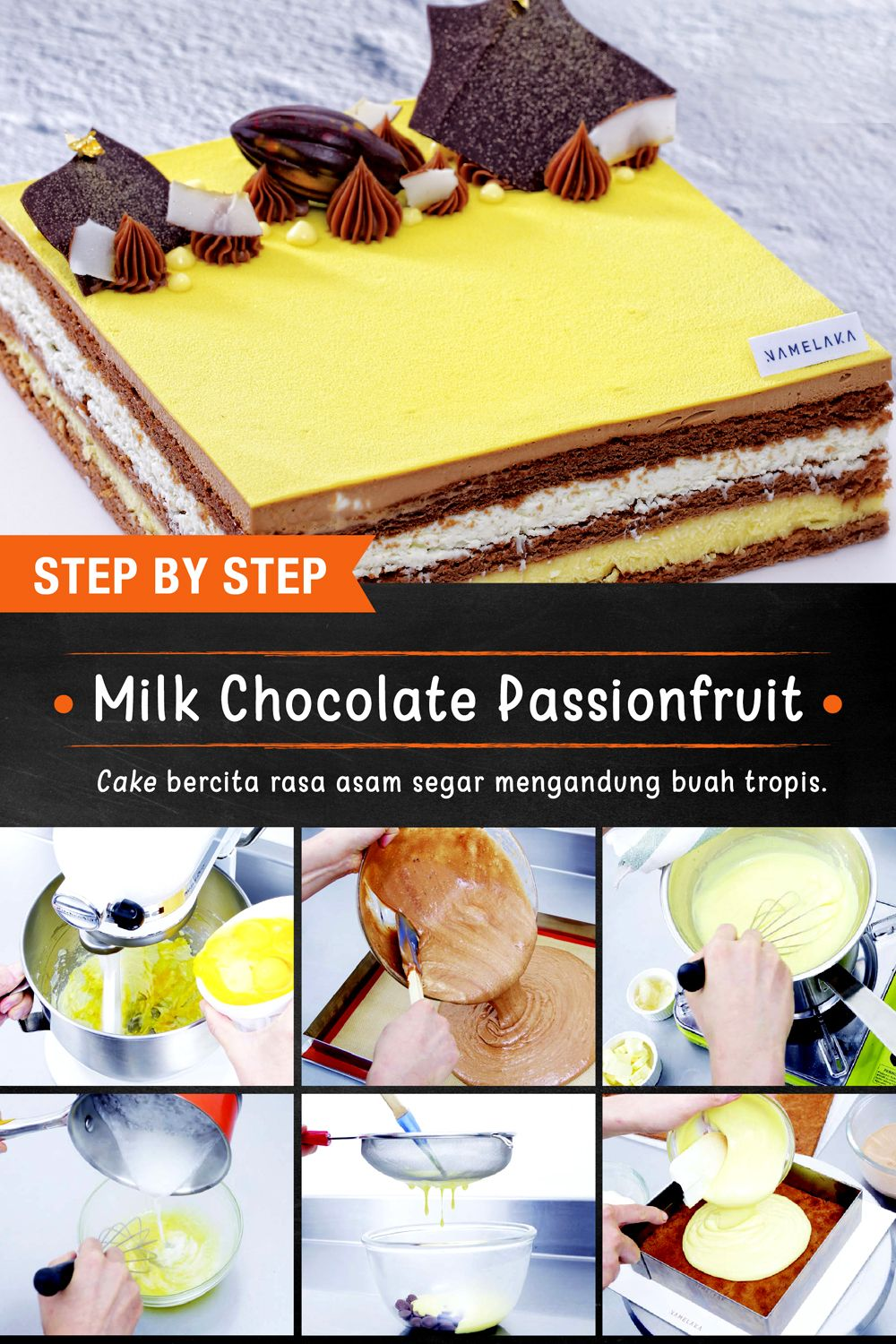 Cake Milk Chocolate Passion Fruit Patisserie, Kue, Makanan