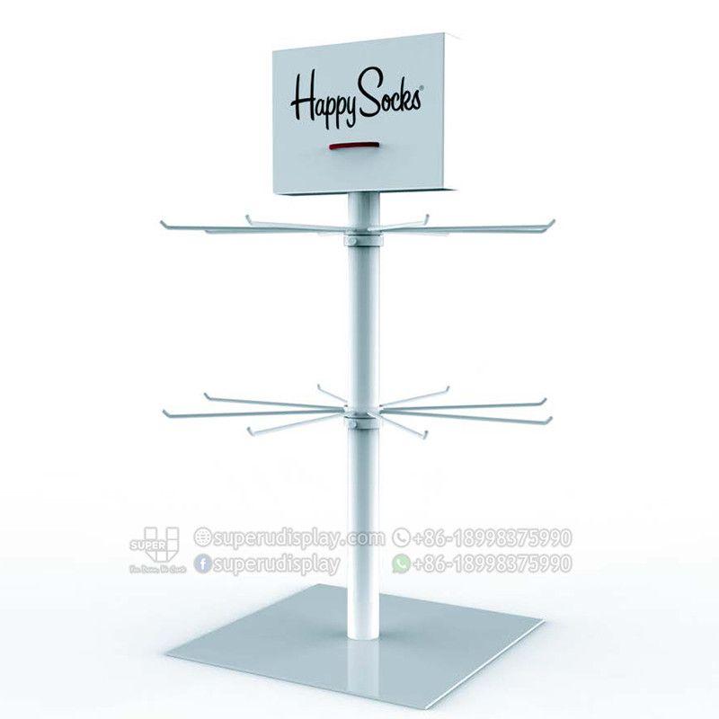 Custom Rotating Countertop Metal Socks Display Stand For Retail