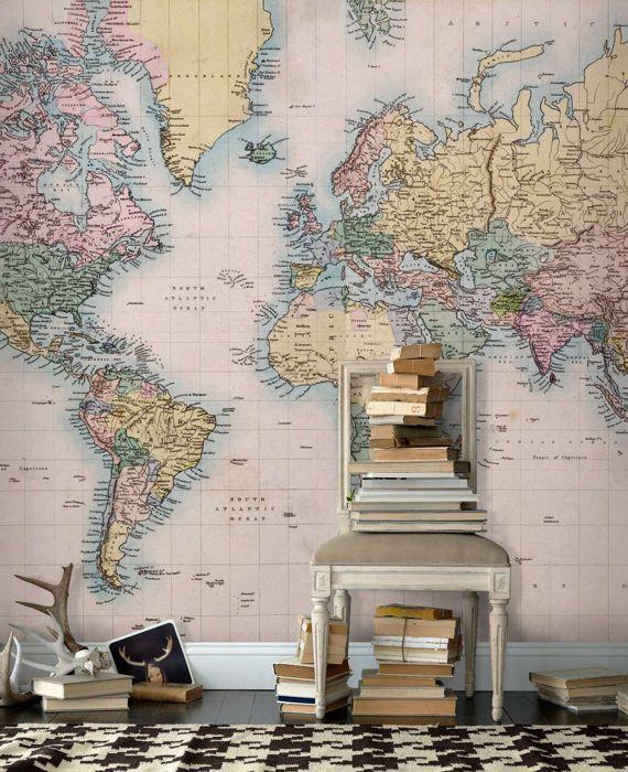 vintage+verdenskart+tapet   martine sin tavle   pinterest