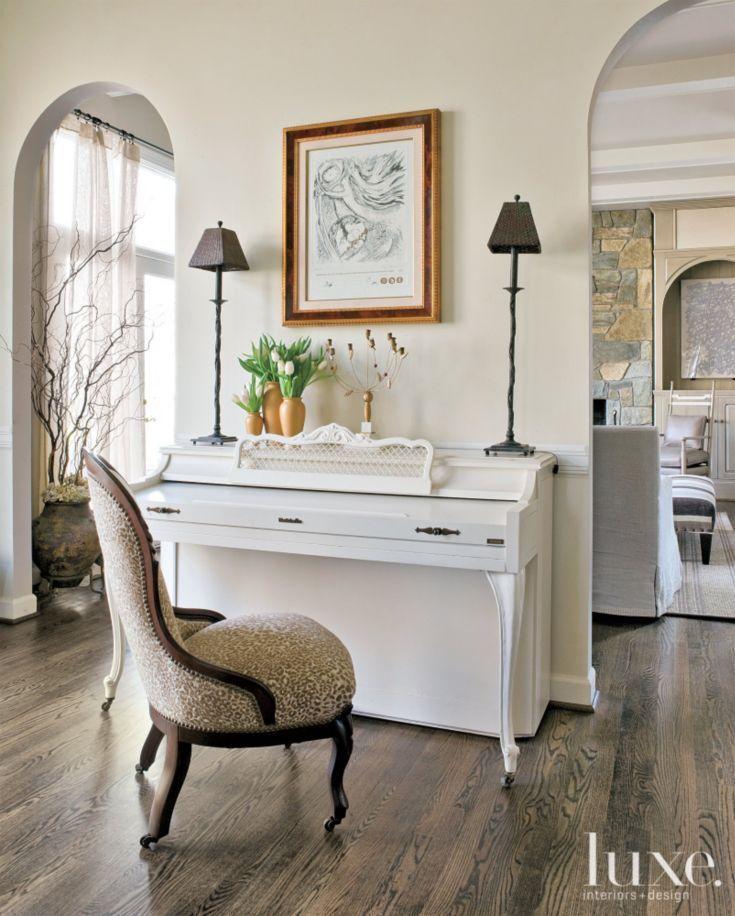 Cream Living Room: Transitional Cream Living Room Piano