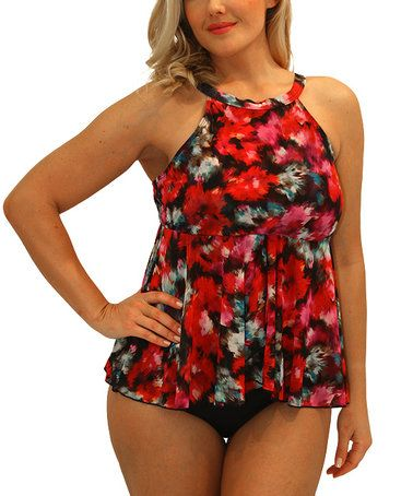 Loving this Red Floral Halter Tankini on #zulily! #zulilyfinds