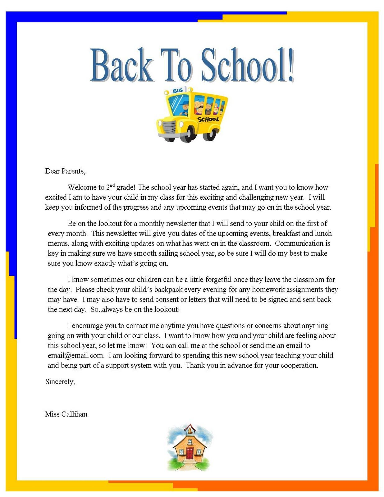 Day Of School Letter To Parents Elementary By Emily S