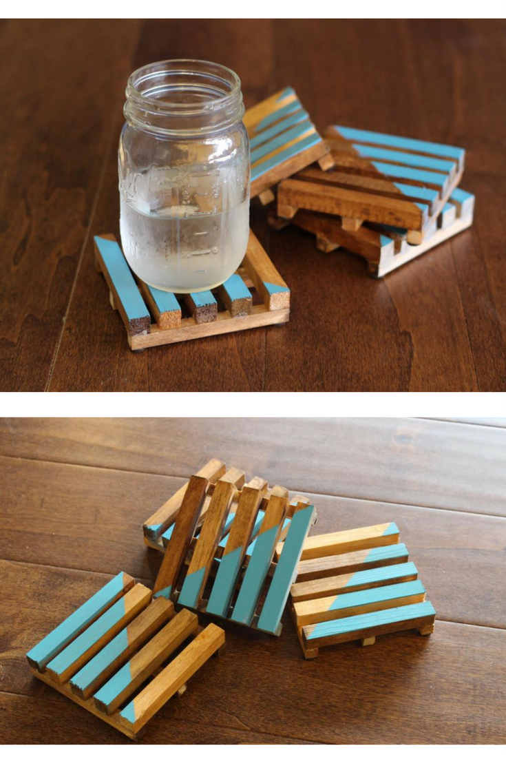 DIY Drink Coasters @Toolboxdivas Wooden Pallet Coasters Using Square  Dowels. Super Easy #DIY Project. #Coaster