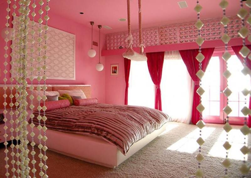 Girl's Room #indoor Swing# Beads Curtains  Home Decor Ideas Captivating Curtains For Teenage Girl Bedroom Decorating Design