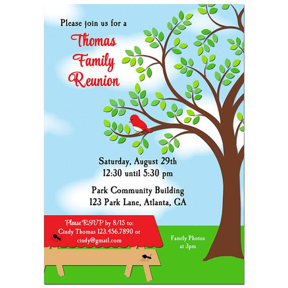 Family Reunion Picnic BBQ Park Invitation Printable or Printed – Free Printable Family Reunion Invitations