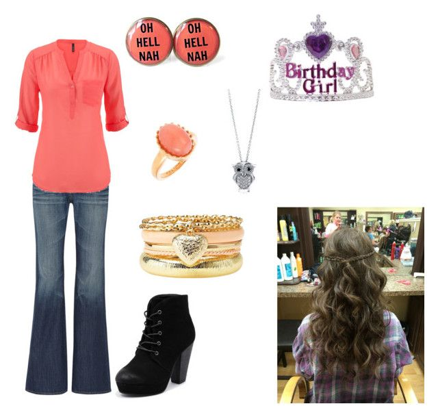"""""""Happy Birthday to Me."""" by katie-odoms ❤ liked on Polyvore featuring moda, AG Adriano Goldschmied, maurices, Therapy, Sence Copenhagen, Charlotte Russe y BERRICLE"""