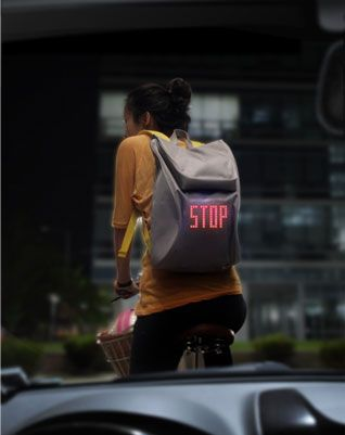 not only is this backpack design really nice, but the addition of LED signals is really cool