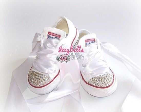 8b99d0b16ee028 Custom Solid Color Bling Converse Shoes for Women - Rhinestone Embellished  - Ribbon Laces - Wedding