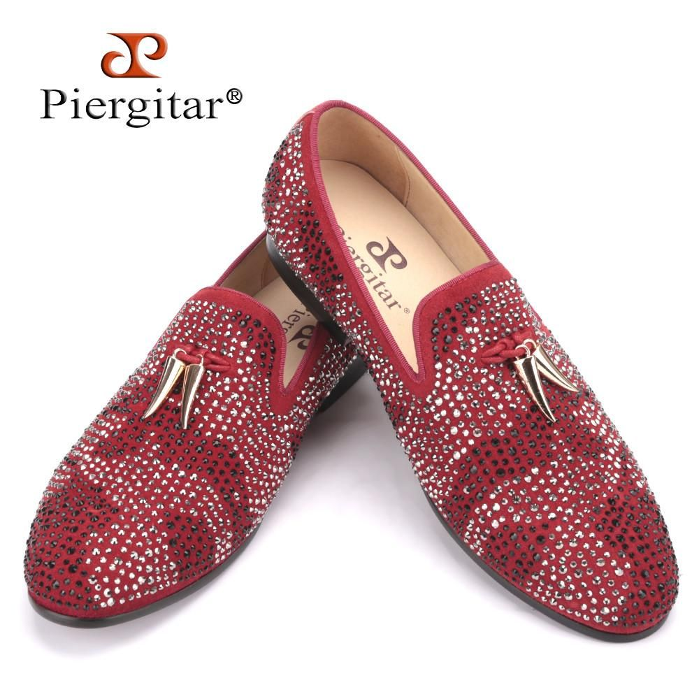 Red dress shoes for wedding  New red and black suede men shoe with gold tassel and exquisite