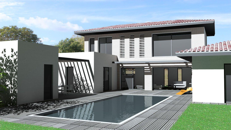 maison contemporaine mix de toitures tuiles terrasse. Black Bedroom Furniture Sets. Home Design Ideas