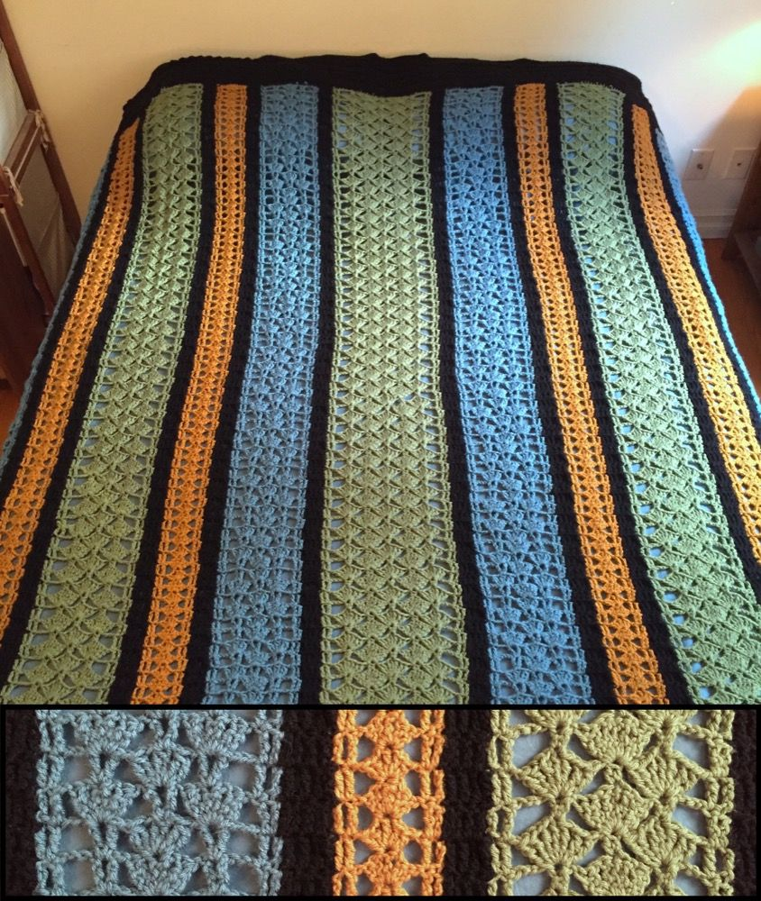Here is a free crochet pattern for a lacy blanket, made of