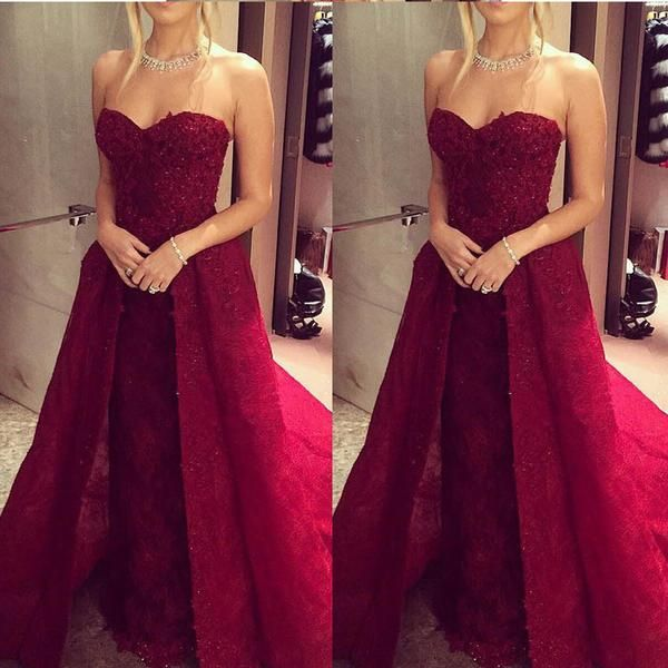 RightBrides 54625 | Burgundy Prom Dresses 2017, Charming Wine Red Lace Prom Dress - Sweetheart Sleeveless Beading with Detachable Train