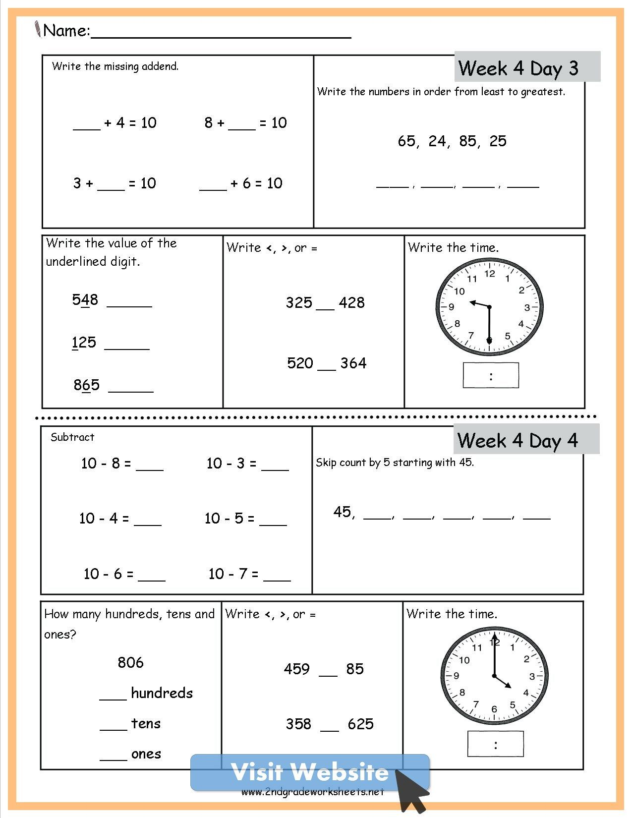 Math Worksheets 2nd Grade Free Math Review Worksheets 2nd Grade Math Worksheets Math Practice Worksheets