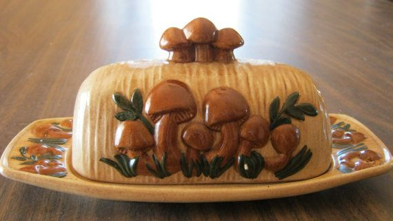 Vintage Butter Dish With Lid Mushroom Pattern by VintageandSheek