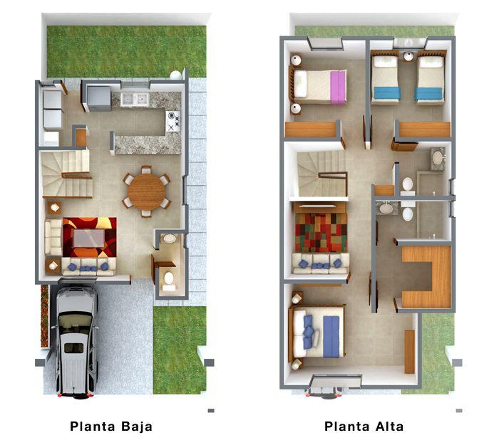 Viviendas para terrenos de 7 metros de frente plantas for Casa minimalista 120m2