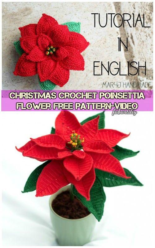 Christmas Crochet Poinsettia Flower Free Pattern-Video | Poinsettia ...