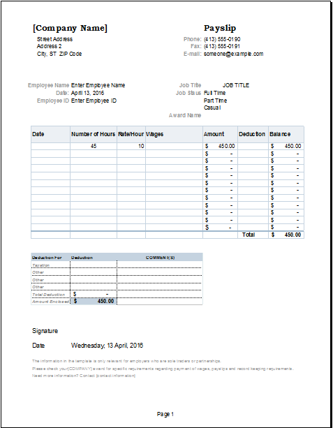 Payslip Change Template | Excel templates, Payroll ...