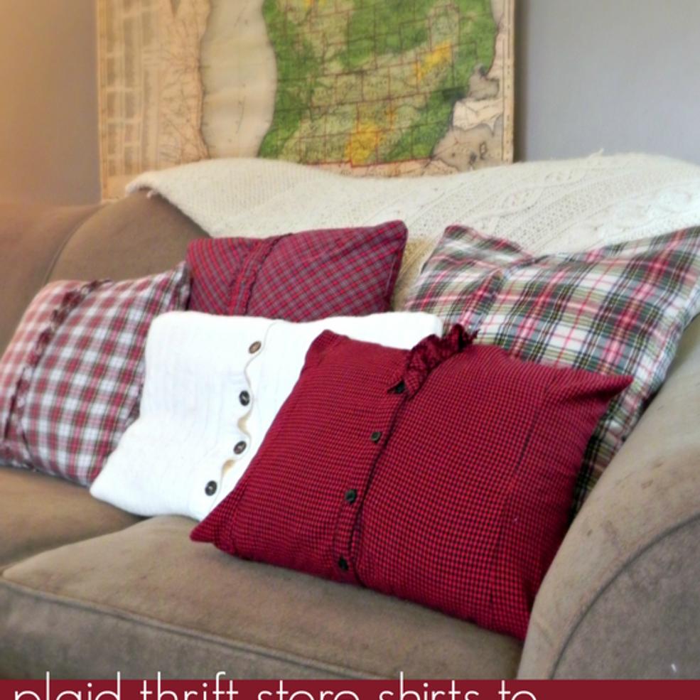cozy plaid throw pillows livingroom projets essayer n hen h keln et diy stricken. Black Bedroom Furniture Sets. Home Design Ideas