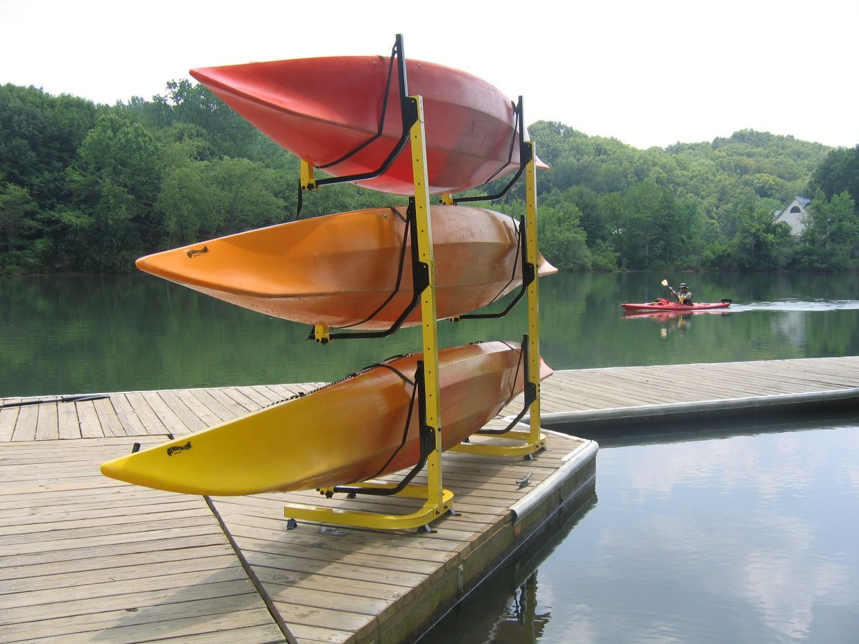 Plans for a kayak rack kayak fishing adventures on big for Boat garage on water