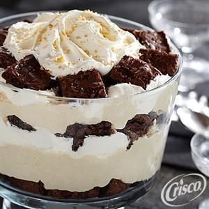 #Brownie Trifle with Peanut Butter #Mousse from Crisco® #Chocolate