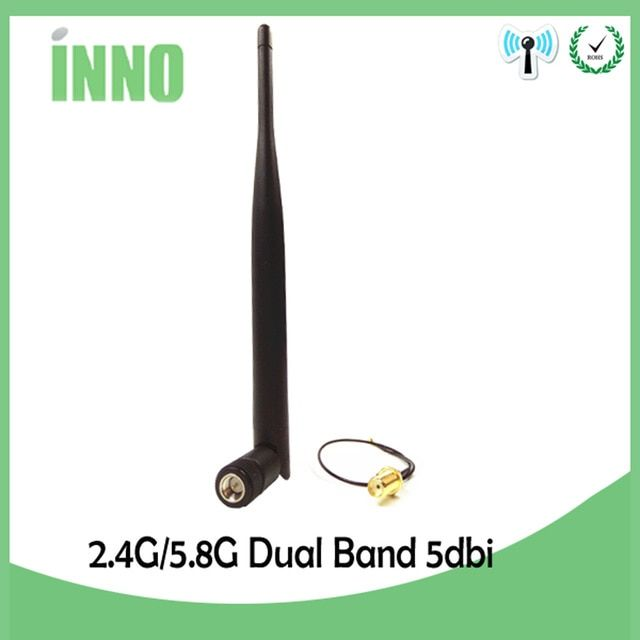 5dBi Dual Band WiFi Antenna IPX Pigtail Cable For M.2 Wireless Card WLAN//3G//4G