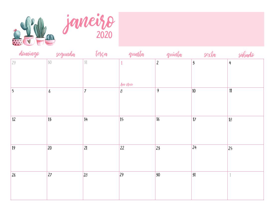 Calendario 2020 Com Feriados.Calendario 2020 Cactos Digital Pdf Rosa E Verde Feriados