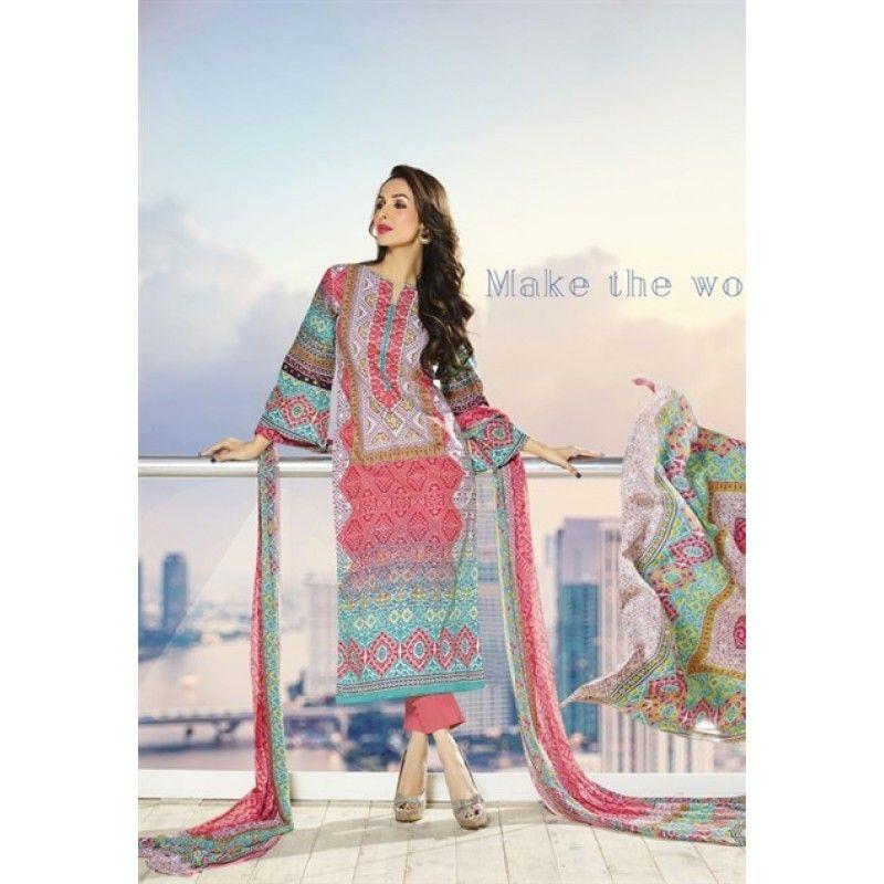 Eid Special Designer Malika Arora Pink Cotton Derss Materil Salwaar Suit-4105( OFB-300)Karishma