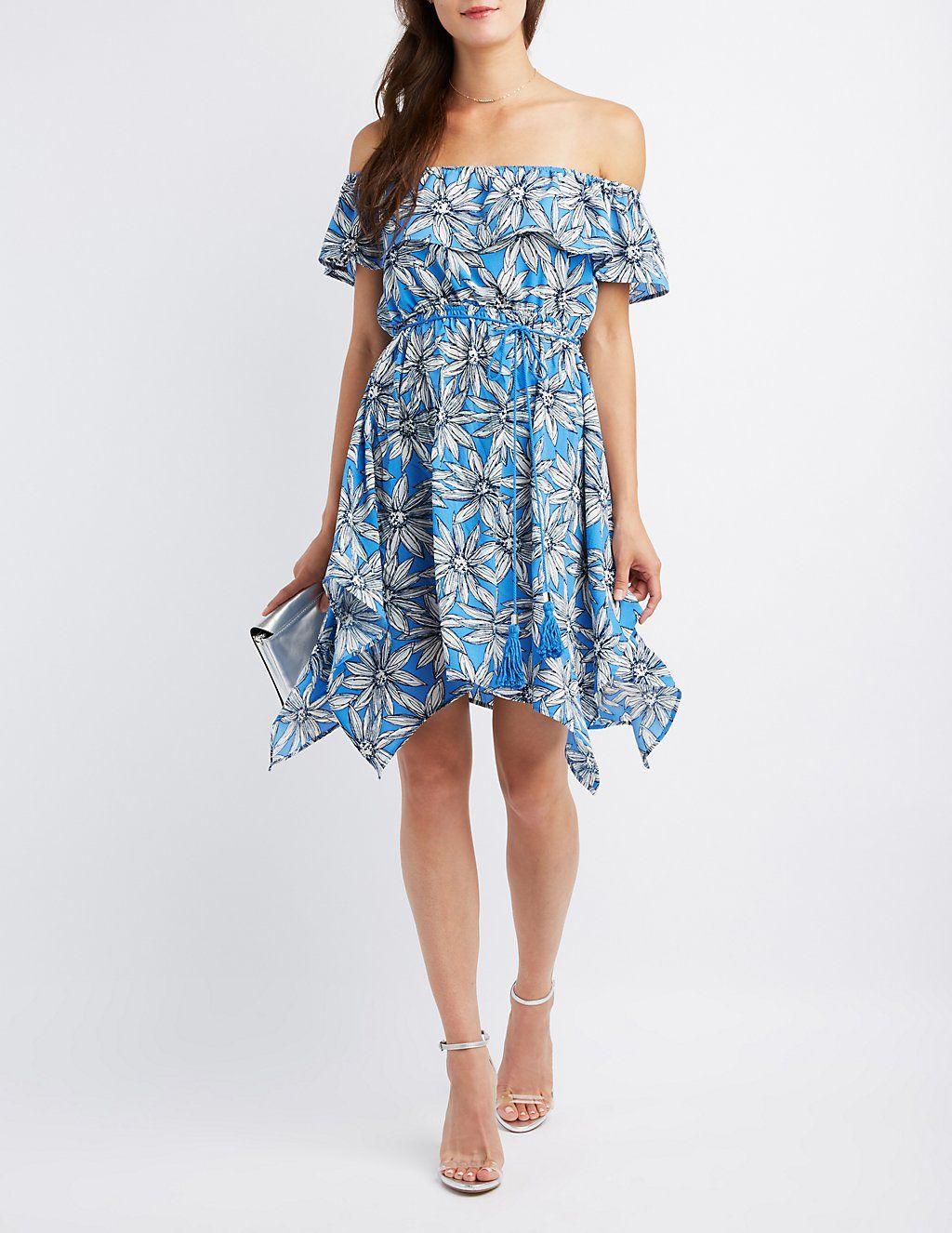 12447745dafe Floral Off-The-Shoulder Sharkbite Dress