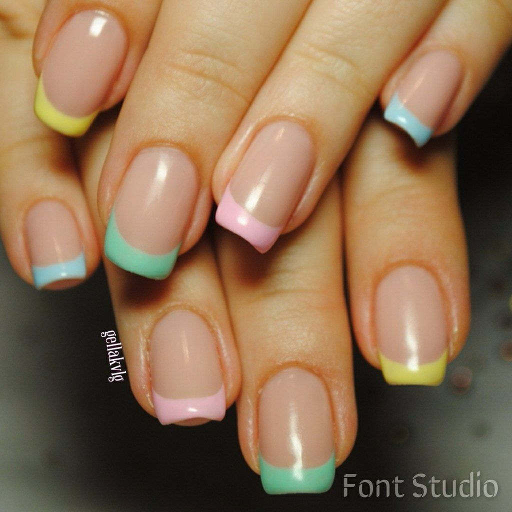 Bright French Tip Nail Designs