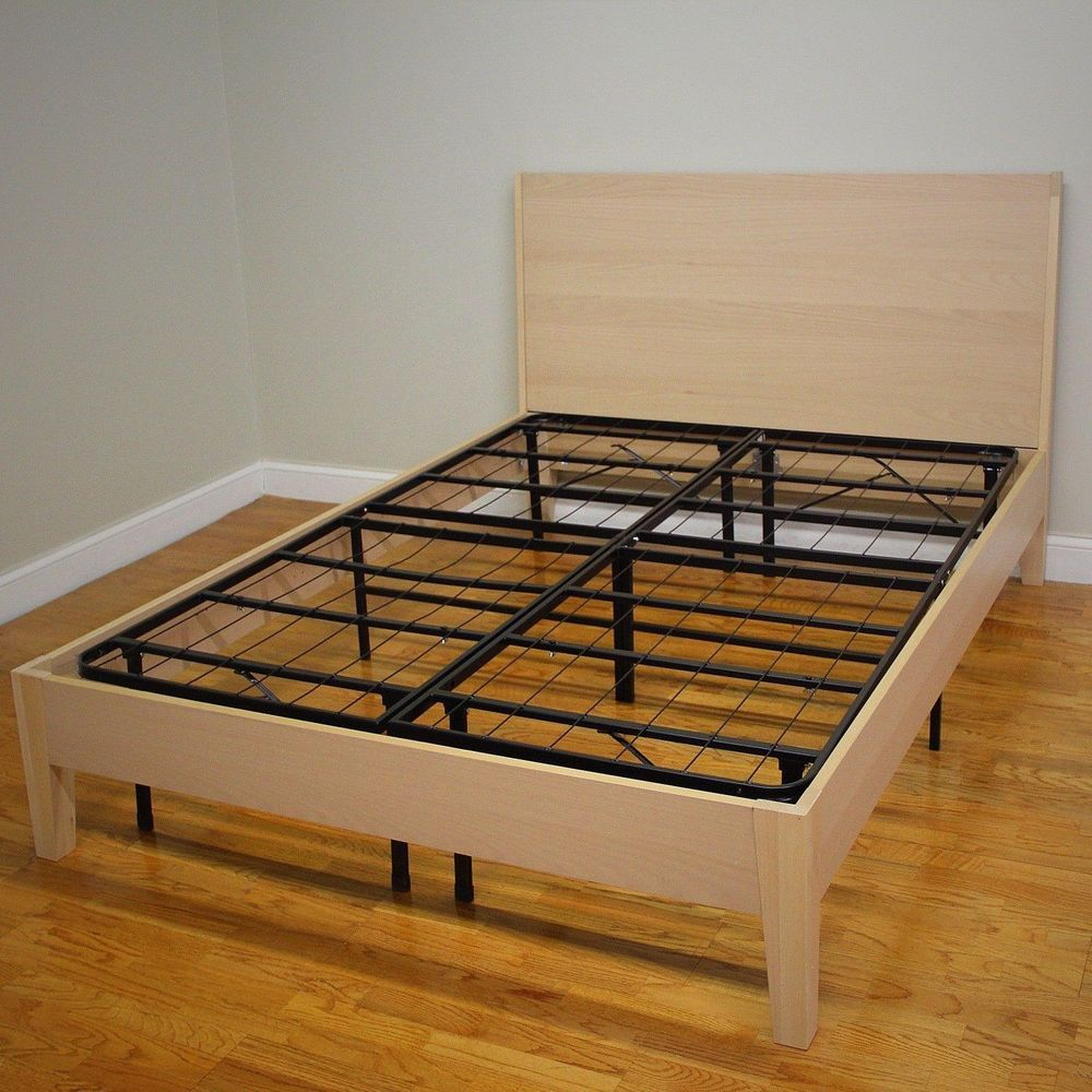 Full Size Bed Frame Sturdy Metal Mattress Platform Base No Box