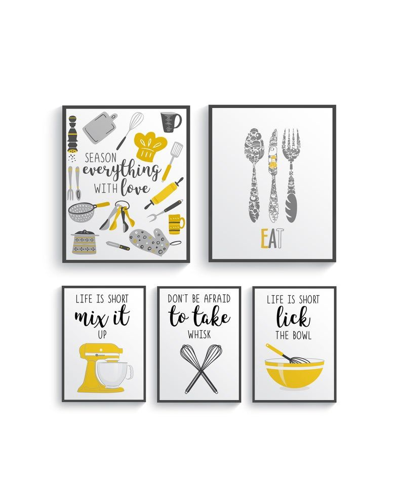 Funny Mustard Yellow Gray Kitchen Wall Decor Yellow Kitchen Wall Art Prints Kitchen Prints Modern Home Decor Dining Room Decor Unframed Yellow Kitchen Walls Grey Yellow Kitchen Kitchen Prints