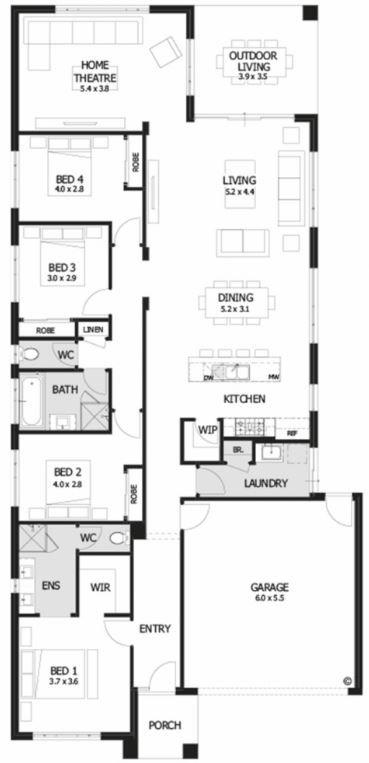 planos de casas 4 dormitorios 1 planta