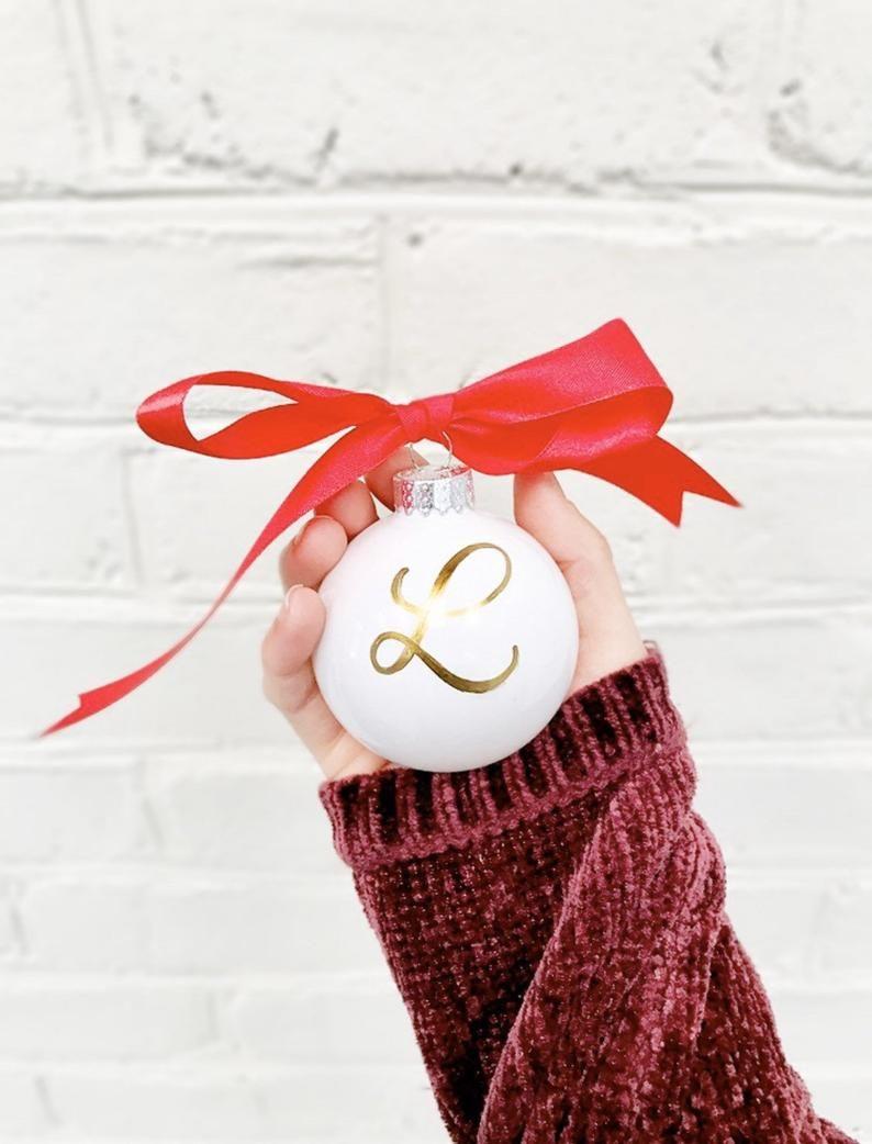 Custom Monogram Ornament Letter Ornament Rose Gold Ornament Etsy Letter Ornaments Custom Ornament Globe Ornament