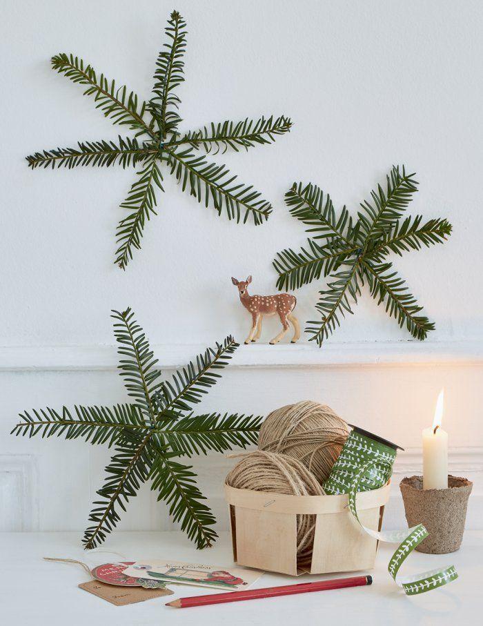 Des étoiles De Noël Avec Des Branches De Sapin Christmas