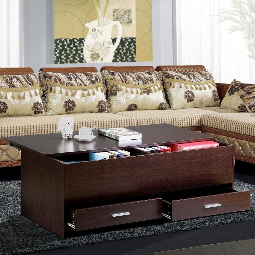 Yaheetech slide top trunk coffee table with storage box 2 yaheetech slide top trunk coffee table with storage box 2 drawers espresso finish geotapseo Gallery