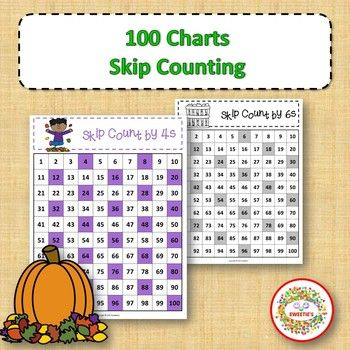100 Charts with Skip Counting - Autumn | 100 chart, Skip counting ...