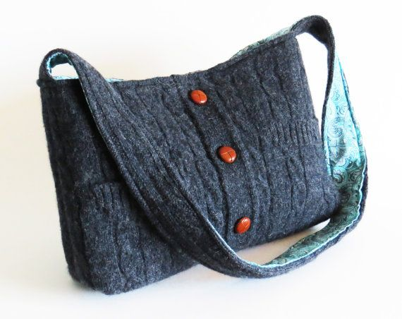 Felted GRAY CABLED SWEATER Shoulder bag / by rescuedbykathleen