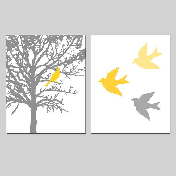 Birds and Trees - Set of Two 8x10 Prints - Bathroom, Nursery, Kitchen, Bedroom - Choose Your Colors - Gray, Yellow, and More via Etsy