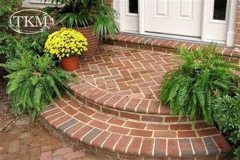 Curved Brick Entry Steps Front Yard Landscaping Front Door Steps Front Porch Steps