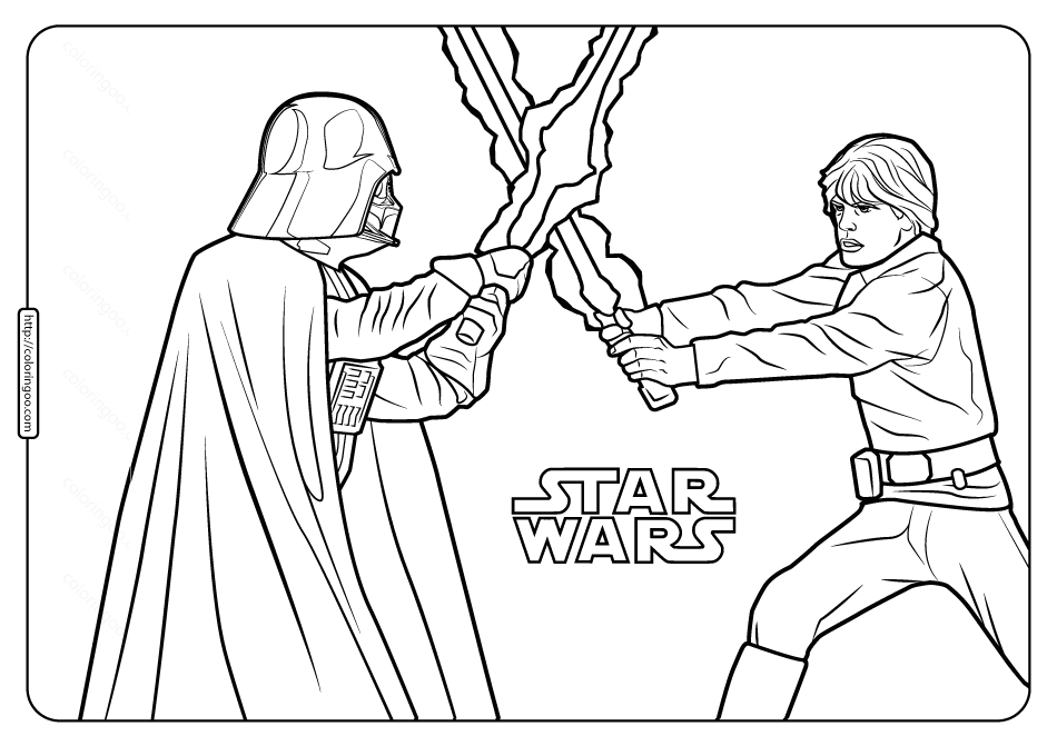 Star Wars Darth Vader and Luke Coloring Pages starwars