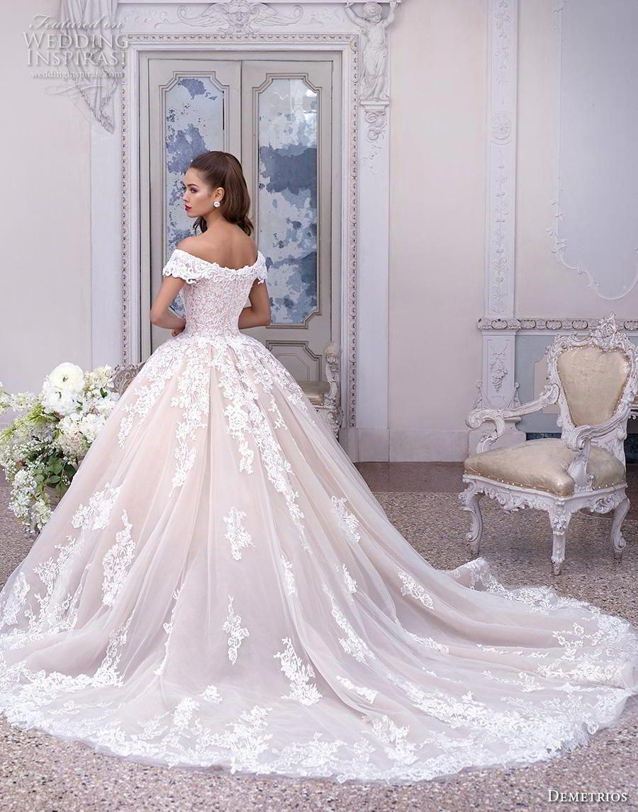c6561a12bb7 demetrios 2019 bridal cap sleeves off the shoulder v neck heavily  embellished bodice hem blush princess ball gown a line wedding dress chapel  train (2) bv ...