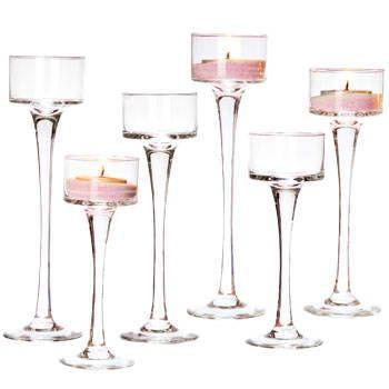 Tall glass candlestick holders wow tall glass tealight for Cheap tall candlestick holders