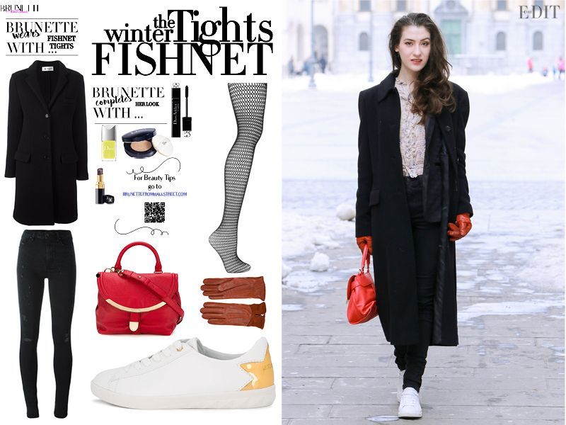 d7f5c9339 Fashion blogger Veronika Lipar of Brunette From Wall Street sharing 3 Ways  to wear the fishnet tights this winter