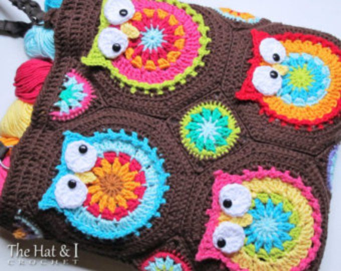 Crochet Pattern Owl Toteem A Colorful Crochet Owl Tote Pattern