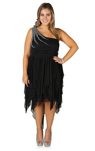 Plus Size One Shoulder Dress Features Stone Accent and High Low Skirt