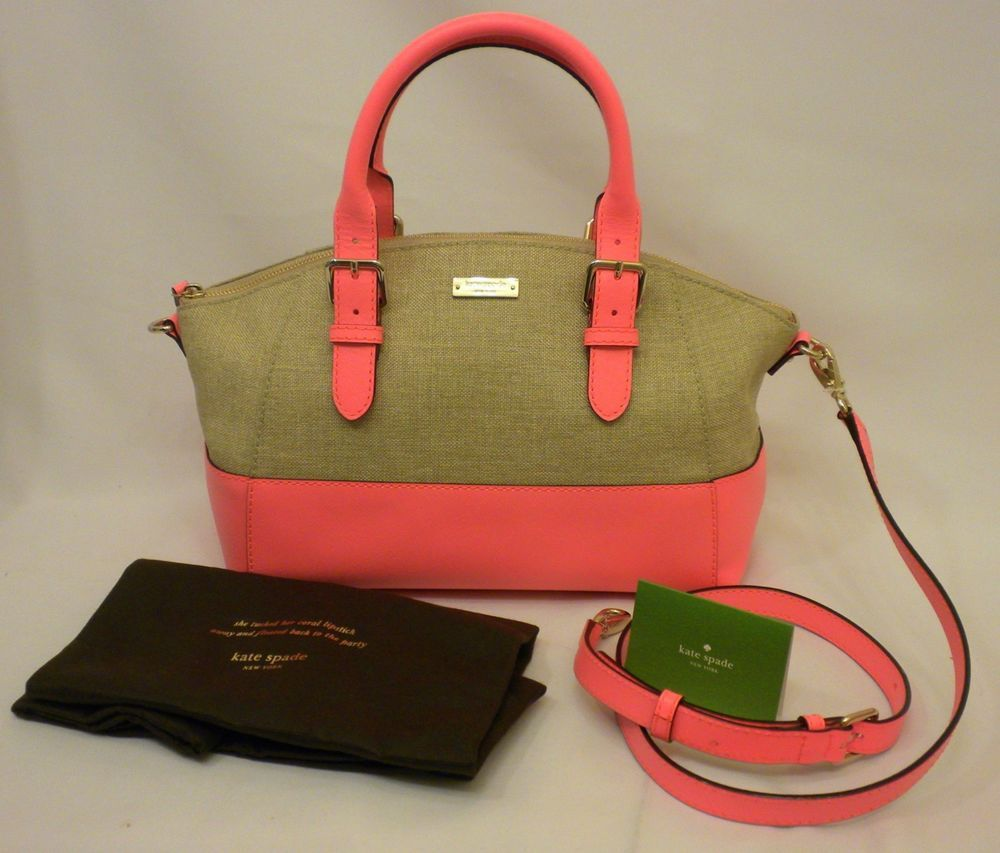 d921cb7c46 NWT Kate Spade Charlotte Street Sand Fabric Small Sloan Satchel Coral  Leather PXRU 4209