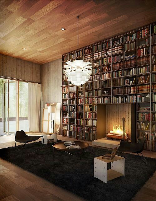 Library room #fireplace #rug #chandelier #stunning #decor