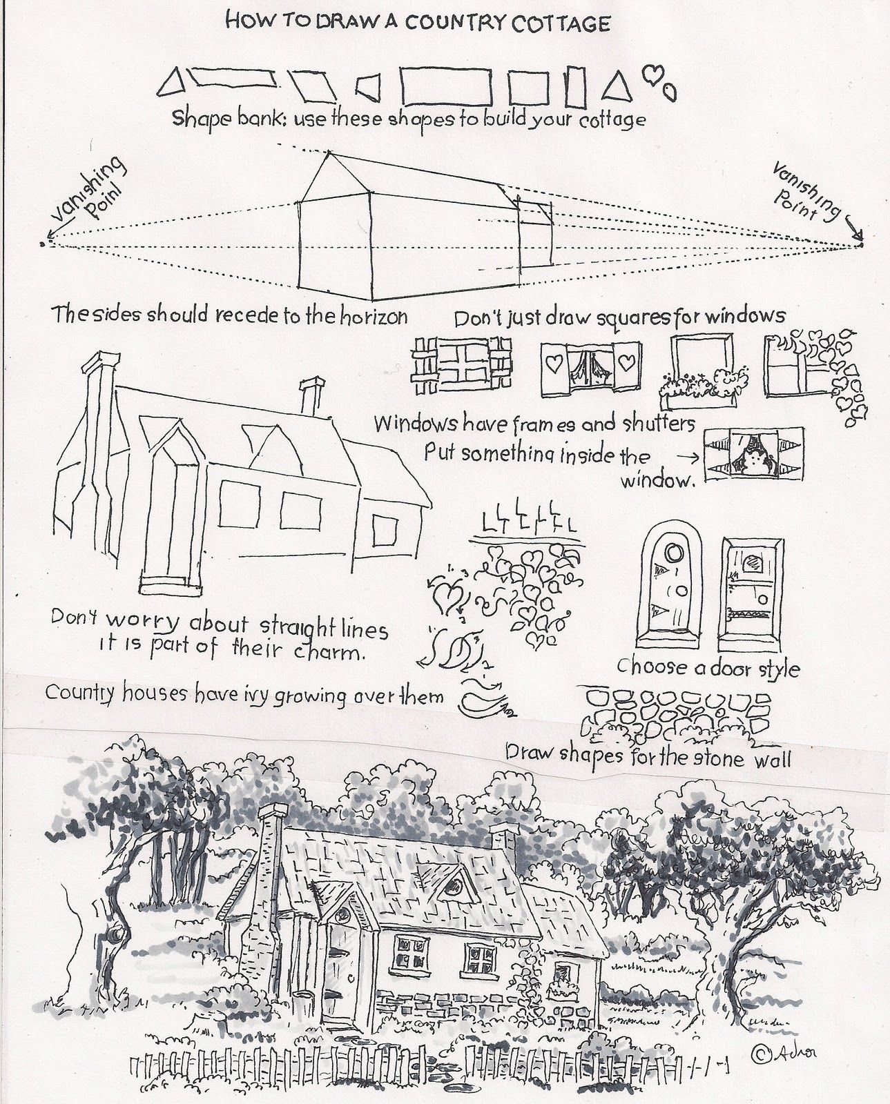 How To Draw A Country Cottage