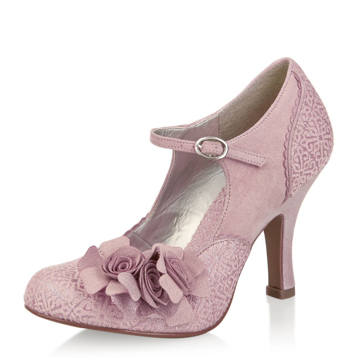 Ruby Shoo Emily Dusky Pink Flower Mary Jane High Heel Shoes