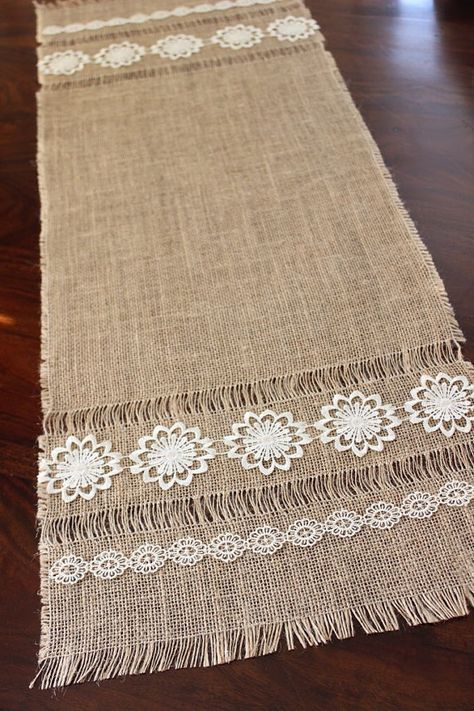 Items similar to Vintage Table Runner - Burlap Table Runner with Lace - New Vintage Table Topper - Beautiful Living on Etsy